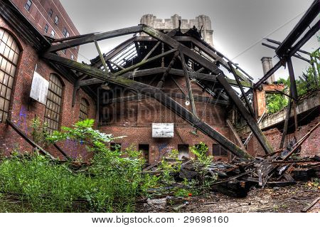 Gymnasium being reclaimed by nature.