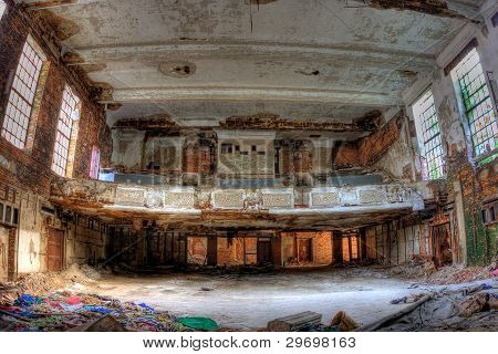 Auditorium. Abandoned City Methodist Church in Gary Indiana