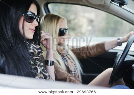 Two girls in a car