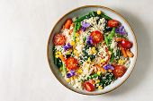 Couscous With Parboiled Vegetables Baby Carrots, Green Beans, Sweet Corn, Spinach Served In Ceramic  poster