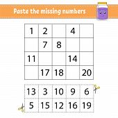 Paste The Missing Numbers. Handwriting Practice. Learning Numbers For Kids. Education Developing Wor poster