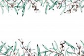 Watercolor Frame Of Pussy Willow Branches With Copy Space. Hand-drawn Illustration. poster