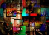 Modernism. Abstract new Mondrian style. 3D rendering poster