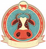 image of cow head  - Cow head label on old paper texture - JPG