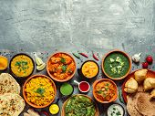 Indian Cuisine Dishes: Tikka Masala, Dal, Paneer, Samosa, Chapati, Chutney, Spices. Indian Food On G poster