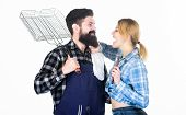 Perfect Day For Barbecue. Man Bearded Hipster And Girl. Preparation And Culinary. Picnic Barbecue. F poster