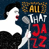 Music Banner With Female Singer. All That Jazz Vector Illustration. Performance Woman Jazz Vocal, Ta poster