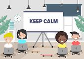 Keep Calm In Office Concept.millennials At Work.young Characters Sitting With Laptops.flat Cartoon D poster