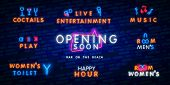 Big Set Neon Coming Soon Neon Sign. Luminous Signboard With Signboard. Night Bright Advertisement. V poster