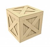 image of wooden crate  - 3D rendered wooden crate over white backgound - JPG