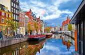 Channel in Amsterdam Netherlands houses river Amstel landmark old european city spring landscape. poster