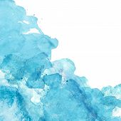 Watercolor Abstract Background With Blue And Turquoise Splashes Of Paint On White. Hand Painted Text poster