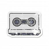 hand drawn distressed sticker cartoon doodle of a distressed sticker cassette tape poster