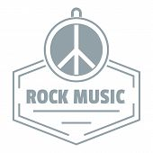 Hippie Rock Music Logo. Simple Illustration Of Hippie Rock Music Logo For Web poster