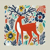 Deer Vector Hand Drawn Illustration. Wild Animal With Antlers Drawing In Scandinavian Style. Cute Ca poster