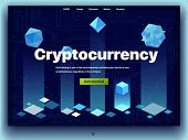 Cryptocurrency Website. Cryptocurrency And Digital Money Technology Concept Vector Website. Website  poster