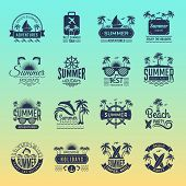 Summer Travel Logos. Retro Tropical Vacation Badges And Symbols Palm Tree Drinks Beach Tour On Islan poster