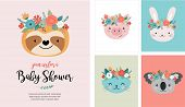 Cute Animals Heads With Flower Crown, Vector Illustrations For Nursery Design, Poster, Birthday Gree poster