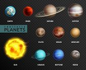 Realistic Planets. Solar System Planet Space Universe Galaxy Sun Moon Saturn Mercury Jupiter Venus C poster