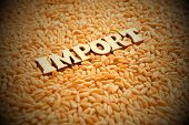 The Word Import Is Composed Of Wooden Letters On The Background Of Wheat Grains. Vignetting, Toning. poster
