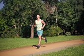 His Best Speed. Man Jogger Run In Park Sunny Day Nature Background. Man Training, Prepare His Body F poster