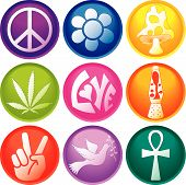 picture of ankh  - Nine 60s Icon Buttons including a peace symbol flower ankh and more - JPG
