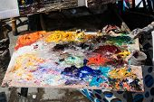 Artistic Colorful Palette With Oil Paint, Street Artist poster