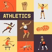 Women Athletics Banner, Poster, Brochure Vector Illustration. Exercising Female In Different Poses.  poster