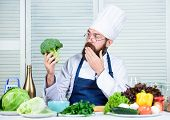 Bearded Professional Chef Cooking Healthy Food. Healthy Vegetarian Recipe. Organic Vegetables. I Cho poster