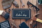 Happy Labor Day Background Concept. Flat Lay Of Construction Blue Collar Handy Tools And White Colla poster