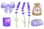 Lavender Flowers. Elements For Provence Design. Violet Bow, Sachet, Wrapped Soap, Burning Candle. Ha poster