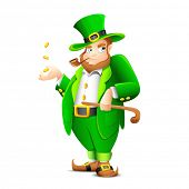 picture of leprechaun  - illustration of Leprechaun with smoking pipe for saint patrick - JPG