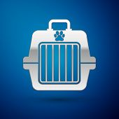 Silver Pet Carry Case Icon Isolated On Blue Background. Carrier For Animals, Dog And Cat. Container  poster