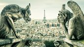 Gargoyles Or Chimeras On The Notre Dame De Paris Overlooking The Paris City, France. Old Cathedral O poster