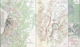 stock photo of rebs  - Map of battles of Gettysburg from Atlas to Accompany the Official Records of the Union  - JPG
