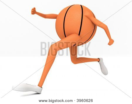 Three Dimensional Side View Of Running Basket Ball