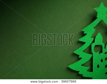Christmas tree paper cutting design papercraft card.