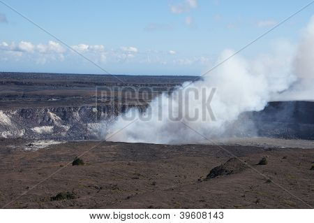 Steam Plume Rising From Active Volcano
