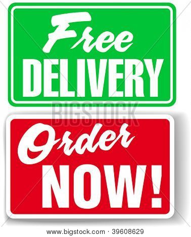Free Delivery Order Now business retail window style signs set
