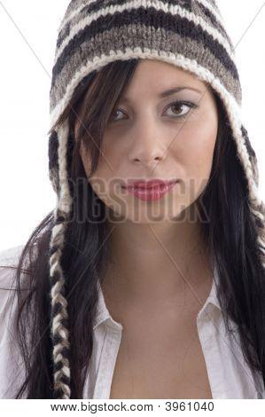 Beautiful Woman Wearing Woolen Cap