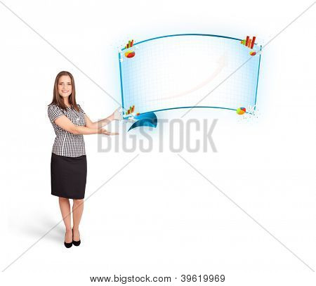 Young woman presenting abstract copy space with graphs and diagrams isolated on white