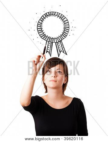 Young woman drawing a ribbon on whiteboard isolated on white