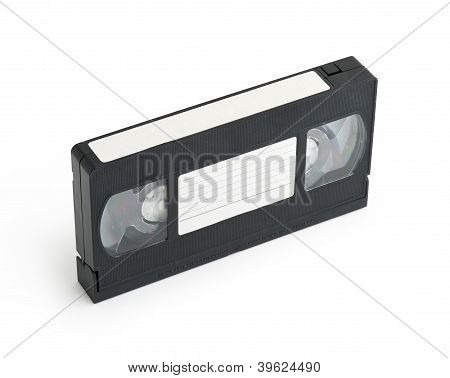 Old VHS video cassette tape with blank label