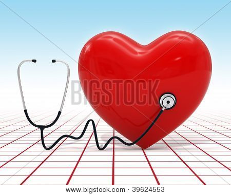3D Heart Medical Examination Icon With Stethoscope