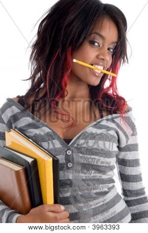 Teenager Student Holding Her Study Books