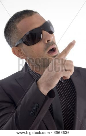 Handsome Male Pointing With Finger