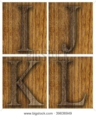 Teak wood I-L blocks with letters
