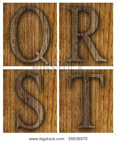 Teak wood Q-T blocks with letters