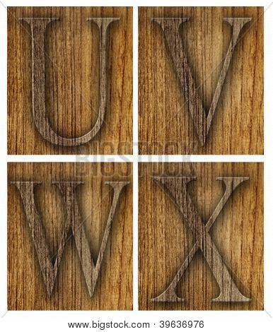 Teak wood U-X blocks with letters