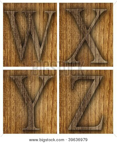 Teak wood W-Z blocks with letters
